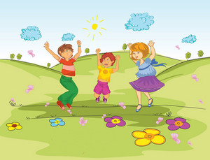 Kinder spielen im Park Vector Illustration