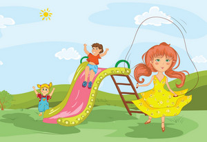 Kids Playing In The Park Vector Illustration