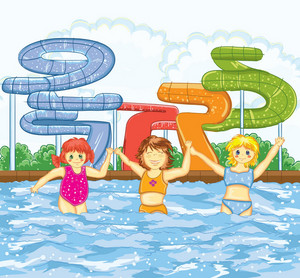 Kids Playing In The Swimming Pool Vector Illustration