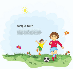 Kids Playing Soccer Vector Illustration