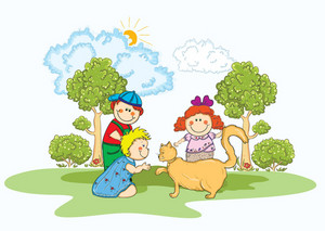 Kids Playing Vector Illustration