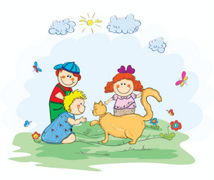 Kids Playing With A Cat Vector Illustration