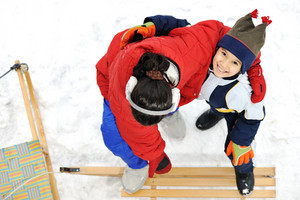 Kids sliding sledge in the snow