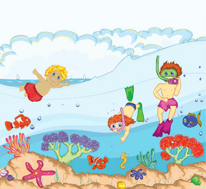 Kids Swimming Vector Illustration