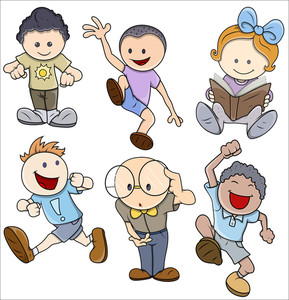 Kids Vector Illustration In Various Poses