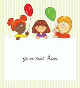 Kids With Baloons  Vector Illustration