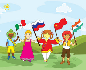Kids With Flags Vector Illustration
