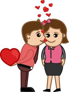 Kissing A Girl Vector