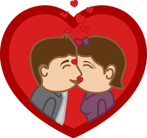 Kissing -  Cartoon Character Man & Woman