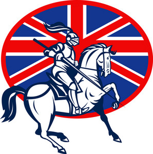 Knight On Horse With Lance And British Flag