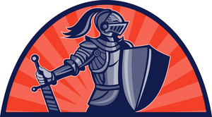 Knight With Sword And Shield Facing Side