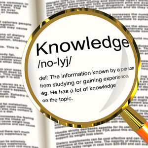 Knowledge Definition Magnifier Showing Information Intelligence And Education