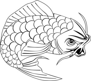 Koi Carp Fish Jumping Line Drawing