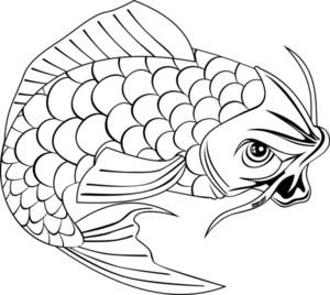 Koi Carp Fish Jumping Line Drawing