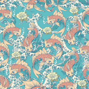 Koi Fish Pattern With Waves