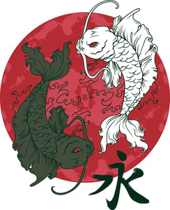 Koi Fish With Red Moon Vector T-shirt Design