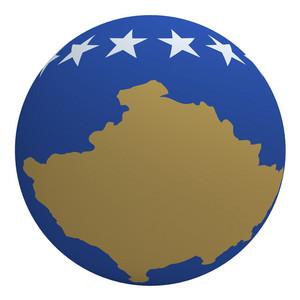 Kosovo Flag On The Ball Isolated On White.