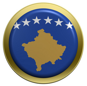 Kosovo Flag On The Round Button Isolated On White.