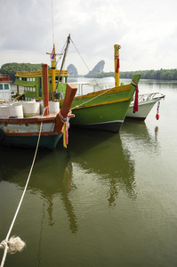 Krabi port with boat