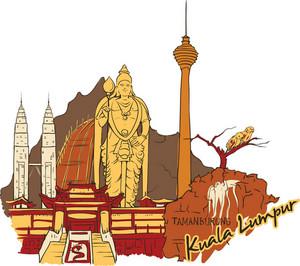 Kuala Lumpur Vector Doodle