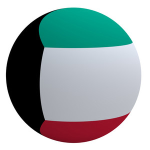Kuwait Flag On The Ball Isolated On White.