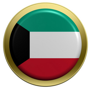 Kuwait Flag On The Round Button Isolated On White.