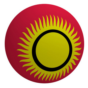 Kyrgyzstan Flag On The Ball Isolated On White.