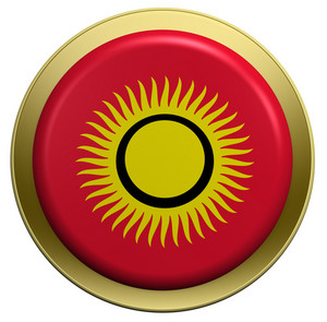 Kyrgyzstan Flag On The Round Button Isolated On White.
