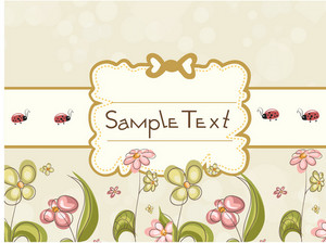 Label With Floral Vector Illustration