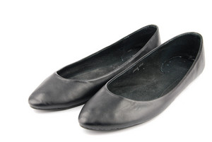 Lady Black Leather Ballet Flat Shoes On White