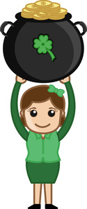 Lady Holding Cauldron - Cartoon Business Characters