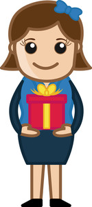 Lady Holding Gift Box - Cartoon Business Character