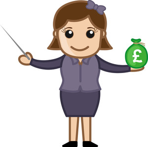Lady Showing How To Invest Your Savings - Business Cartoon Character Vector