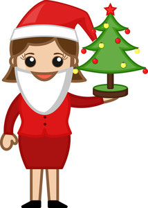 Lady Wearing Santa Costume - Cartoon Business Characters