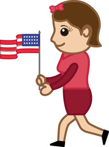 Lady With Usa Flag On 4th Of July - Cartoon Business Characters