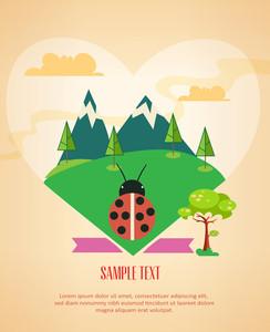 Ladybug And Nature (editable Text)