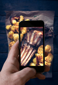 Lamb Ribs And Baked Potatoes Photographing