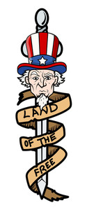 Land Of The Free Uncle Sam Vector Illustration