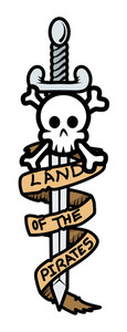 Land Of The Pirates Banner Sword And Skull - Vector Cartoon Illustration