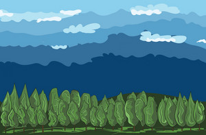 Landscape Cartoon Background Vector Illustration