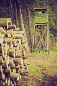 Landscape of field with raised hide and forest. photo with vintage mood effect