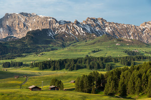 Lankoffel mountain range. View from Seiser Alm, Dolomites, Italy.