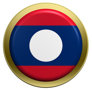 Laos Flag On The Round Button Isolated On White.