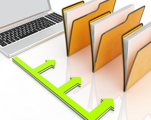 Laptop And Folders Shows Administration And Organized