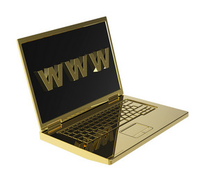 Laptop And Www Word On The Screen Isolated Over White Background