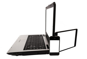 Laptop With Tablet And Mobile Phone  XXXL black