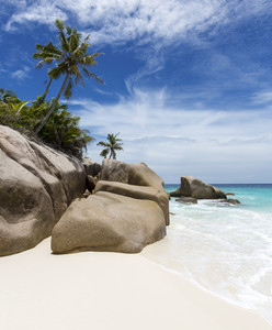 Large boulders on a tropical beach