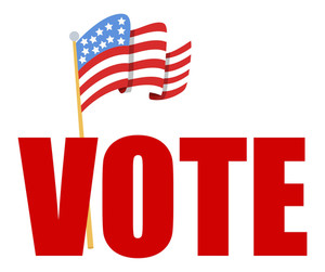 Large Vote Text With Usa Flag  Election Day Vector Illustration