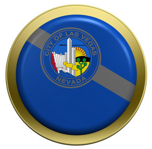 Las Vegas Flag On The Round Button Isolated On White.