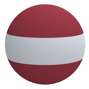 Latvia Flag On The Ball Isolated On White.